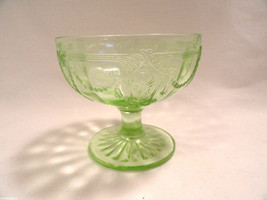 Vintage Green Cameo Depression Glass Sherbet Molded 3 1/8 Hocking Ballerina - $7.99