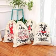 New Santa Sacks Bag Drawstring Canvas Merry Christmas Home Decorations N... - $15.16