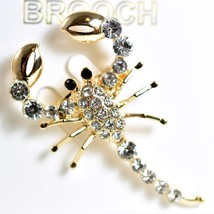 """Gold Tone Pave Crystal Scorpion 2"""" Pin Brooch New With Tags image 2"""
