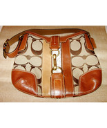 Coach Handbag Tan Saddle Leather Khaki Beige Canvas Shoulderbag Brass Ha... - $40.00
