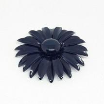 "Vintage Large Navy Blue Daisy Flower Enamel Metallic Unbranded 3"" Brooch Pin  - $9.49"