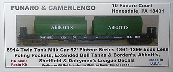 Funaro & Camerlengo HO Twin Tank Milk Car flatcar series w/entended ball tanks