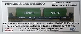 Funaro & Camerlengo HO Twin Tank Milk Car flatcar series w/entended ball tanks   image 1