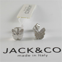 925 RHODIUM SILVER JACK&CO EARRINGS WITH BUTTERFLY CUBIC ZIRCONIA MADE IN ITALY image 1