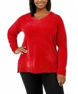 Karen Scott Women's Plus Size V-Neck Chenille Sweater Red 3X - $25.80