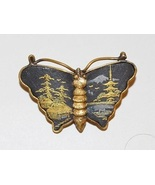JAPANESE DAMASCENE BUTTERFLY PIN - $25.00