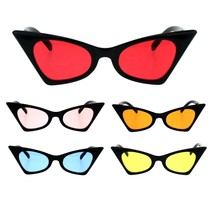 Womens 80s Futuristic Narrow Gothic Cat Eye Sunglasses - $9.95