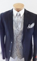 SILVER XS to 6XL Paisley  Dress Vest Waistcoat & Neck tie Hanky for Tuxe... - $22.75+