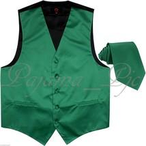 Emerald Green Solid Tuxedo Suit Vest Waistcoat and Neck tie Prom Wedding Party - $18.79+