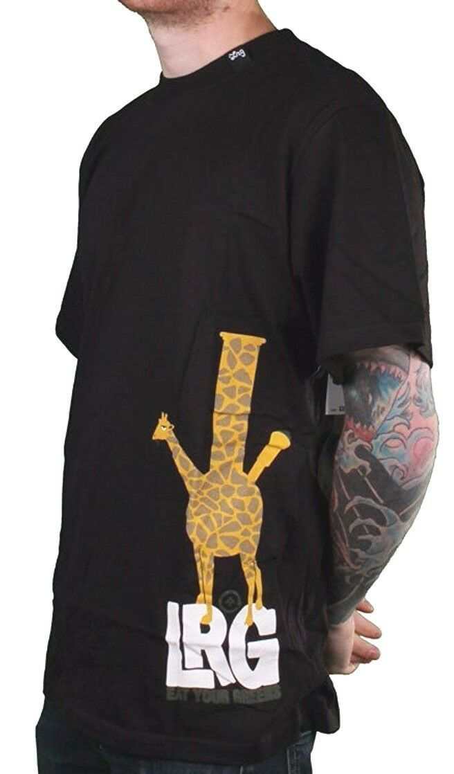 LRG Black or White Eat Your Greens Giraffe Shaped Bong Rasta Safari T-Shirt NWT