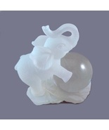 Elephant Figurine Trunk Up White Frosted Lucite Collectible Home Decorative - $12.95