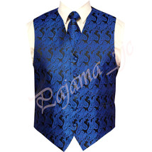 ROYAL Blue XS to 6XL Paisley Tuxedo Suit Dress Vest Waistcoat & Neck tie Prom - $21.76+