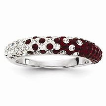 STERLING SILVER ALABAMA RING - CRIMSON & WHITE SWAROVSKI CRYSTALS - SIZE 7 - $84.67