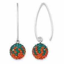 STERLING SILVER MIAMI HURRICANES GREEN/ORANGE SWAROVSKI CRYSTAL DANGLE E... - $71.34