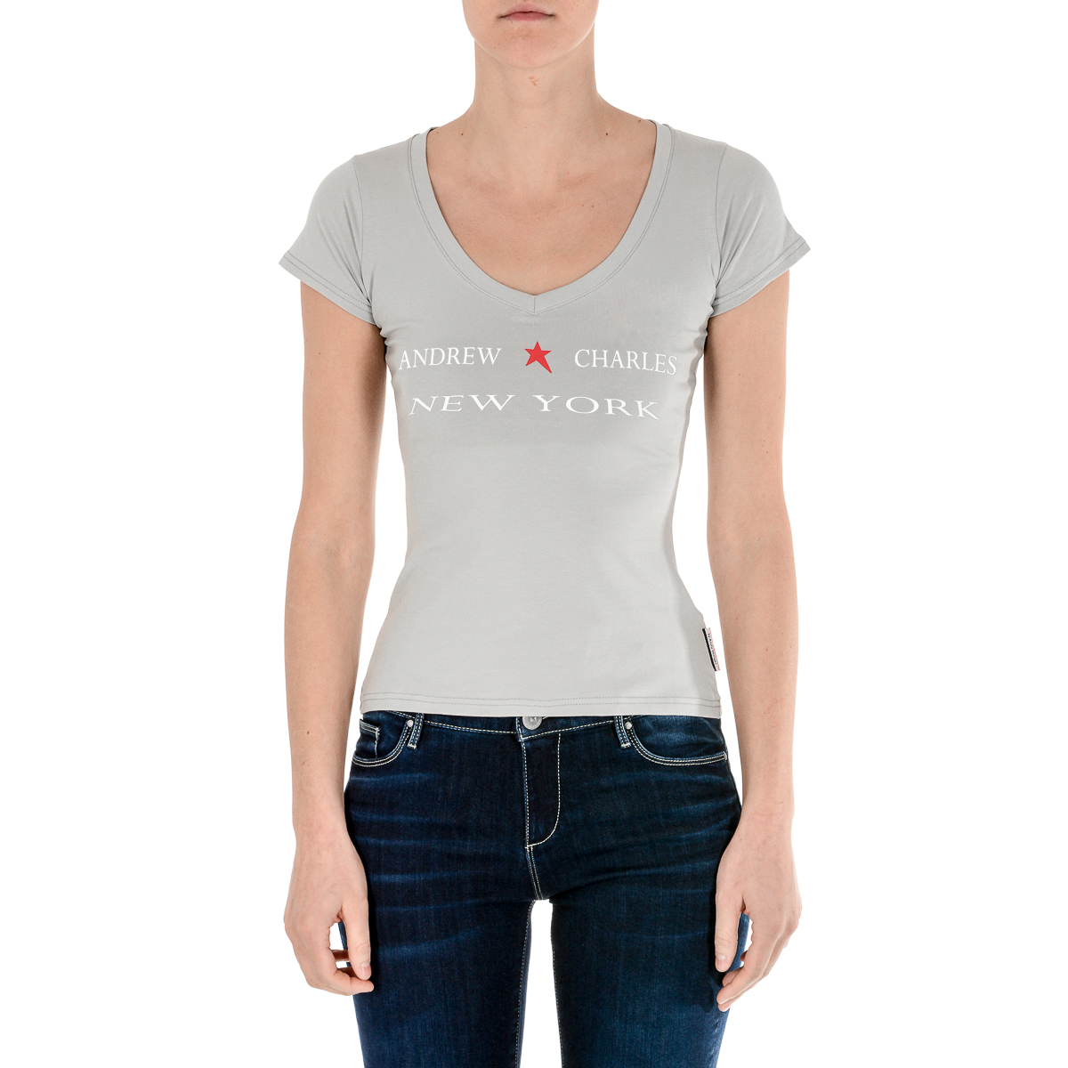 Primary image for Andrew Charles Womens T-Shirt Short Sleeves V-Neck Grey TAPIWA