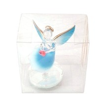 Angel Blue White Red Heart Glass Figurine & Mirror Stand Home Decorative - $6.99