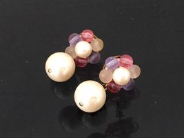Vintage Jewelry Faux Pearl & Multi color Cabochon Cluster Earrings  - $12.99