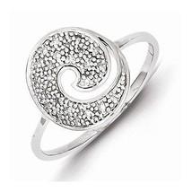 STERLING SILVER  DIAMOND ROUND DESIGN SWIRL  RING - SIZE 6 - £108.32 GBP