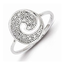 STERLING SILVER  DIAMOND ROUND DESIGN SWIRL  RING - SIZE 7 - £108.32 GBP