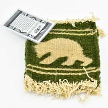 Handmade Zapotec Indian Weaving Hand-Woven Bear Green Wool Coaster Set of 4