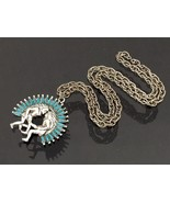 Vintage Southwestern Jewelry Silver Tone Faux Turquoise Pendant Necklace... - $25.00
