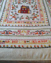 Vintage terry cloth tablecloth 64 X 49 rectangular schoolhouse alphabet pattern image 2