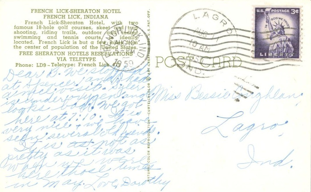 French Lick-Sheraton Hotel, French Lick, Indiana, 1959 used Postcard