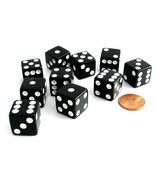 Set of 10 Six Sided D6 16mm Standard Square Edged Dice Die Black With Wh... - $6.99