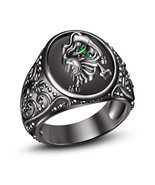 New Solid 925 Silver Green Sapphire Black Gold Plated Leo Zodiac Sign Me... - £70.31 GBP
