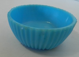 Akro Agate Ribbed Jar Bottom Solid Blue with Chips on Edge Powder Jar Ca... - $12.75