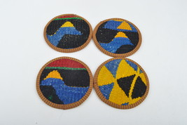 set wool coasters,coasters,rug coasters,coffee table accents,vintage coa... - $14.90