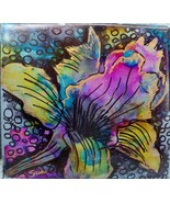 iris garden floral original painting alcohol ink tile 6x6 - $19.99