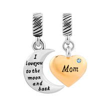 Pugster Gold Plate Heart Moon Sister Beads Charms Aquamarine Crystal I L... - $14.99