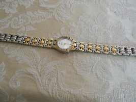 Aspire Vintage Silver/Gold Tone Rhinestone Round Face Womens Watch - $7.24