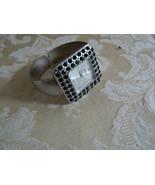 Vintage Kessaris Silver Tone Black Rhinestone Clamper Ladies Wrist Watch - $24.74