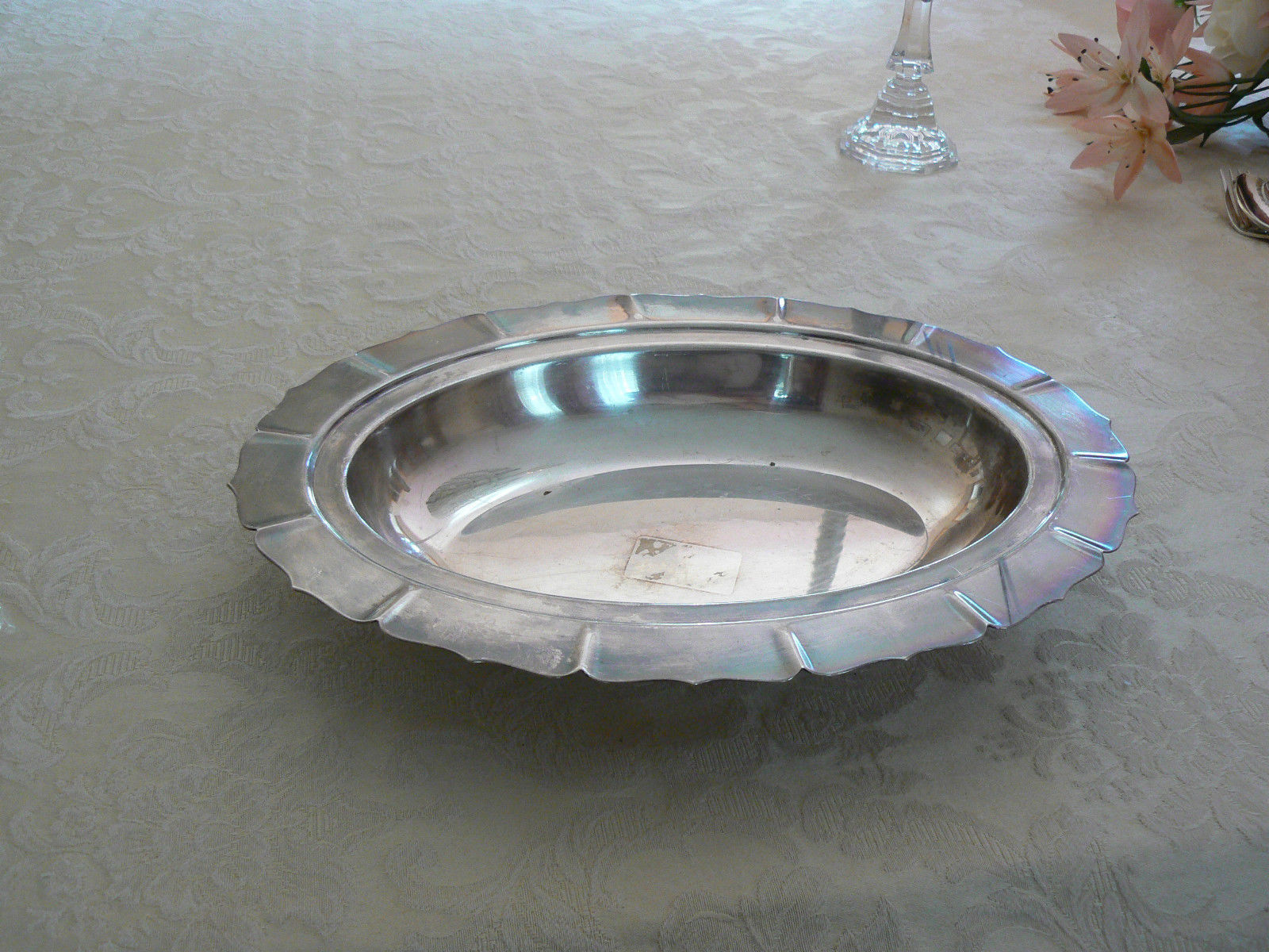 Antique/Vintage International Silver Co. Silverplate Oval Dish Early American PT