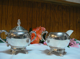 Antique/Vintage F.B. Rogers Silver Co. Silverplate Creamer & Covered Sugar Bowl image 1