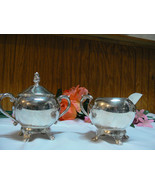 Antique/Vintage F.B. Rogers Silver Co. Silverplate Creamer & Covered Sug... - $21.03