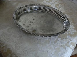Vintage W&S Blackinton Silverplate Footed Open Edge Oval Serving Tray - $16.82