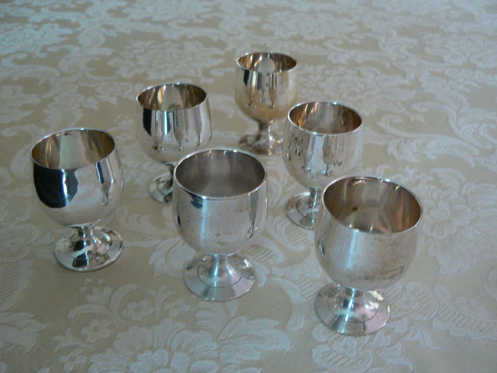 Vintage Marked Silver Plate Small Set of Six Cordial Cups