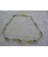 Lovely Vintage Silvertone Links Green Bead Necklace - $5.88