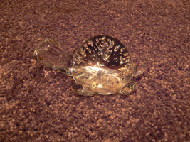 Vintage Crystal Clear Turtle Paperweight With C... - $15.83