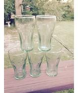 5 Coca-Cola Small Green Tint Glasses 6 Oz Kid/ Child Juice Mini Tumbler ... - $11.87