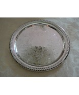 Vintage Wm Rogers Silverplate Small Etched Bottom Ribbed Edges Platter - $39.59