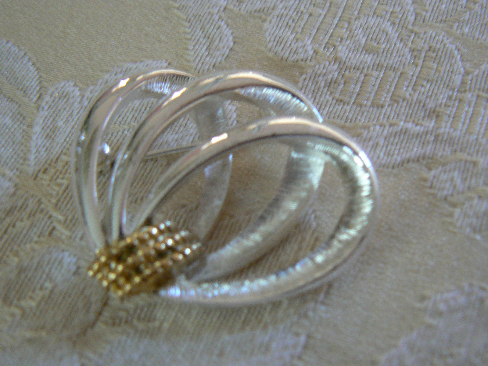 Vintage Napier Brushed Silvertone 3 Ovals Connected by Goldtone Bar Pin/Brooch