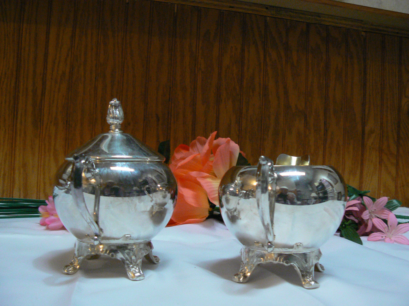 Antique/Vintage F.B. Rogers Silver Co. Silverplate Creamer & Covered Sugar Bowl image 3