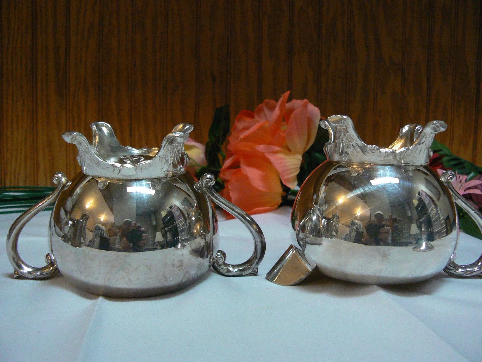 Antique/Vintage F.B. Rogers Silver Co. Silverplate Creamer & Covered Sugar Bowl image 5