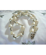 Lovely Vintage Silvertone White Tear Drop Plastic Bead Necklace - $7.56