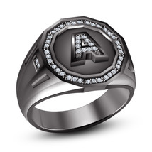 925 Sterling Silver Black Gold Finish Round Cut White CZ Initial Latter A Ring - $90.36