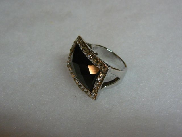 New Big Gaudy Faux Onyx Clear Rhinestone WGP Ring